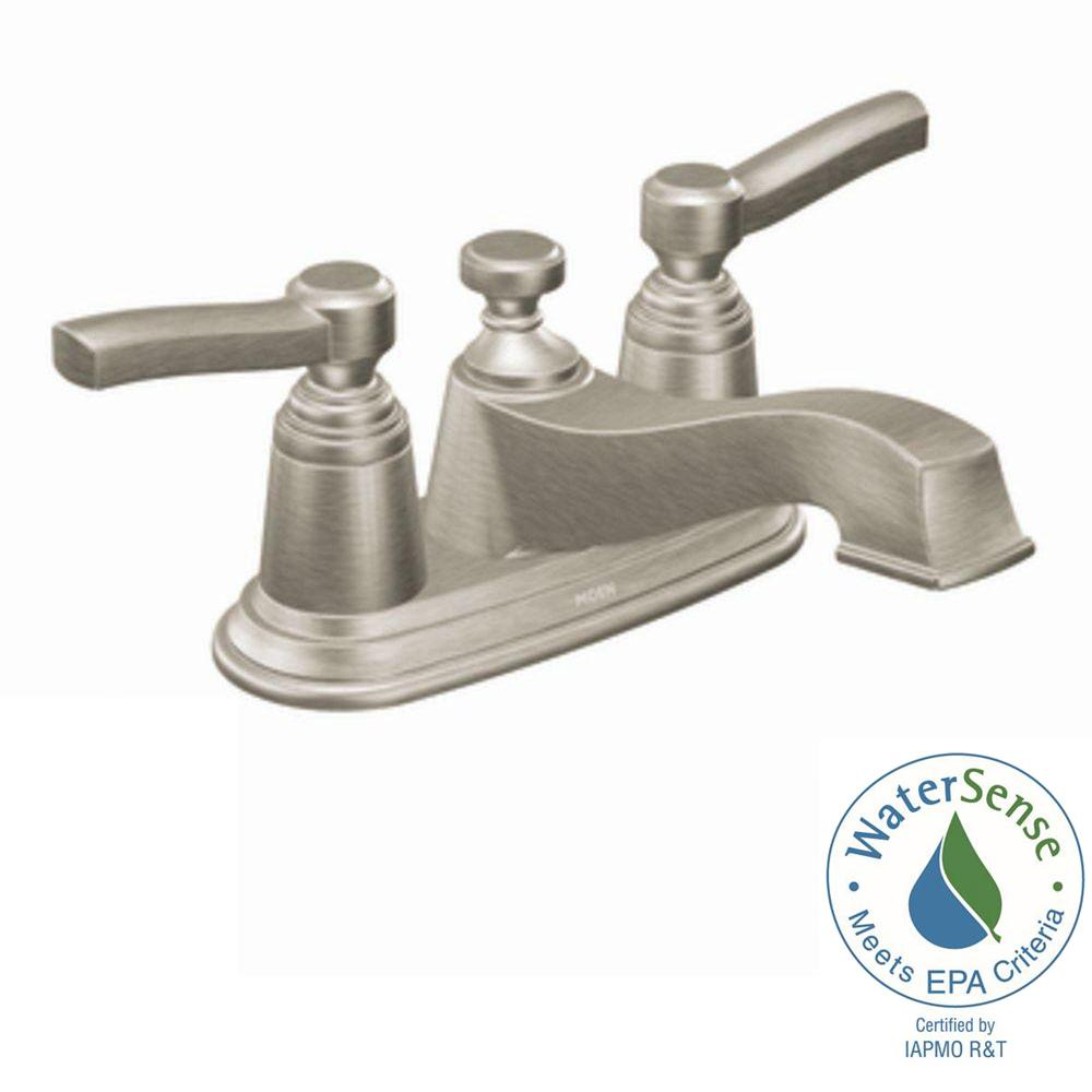 MOEN Rothbury 4 in. Centerset 2-Handle Low-Arc Bathroom Faucet in Brushed Nickel