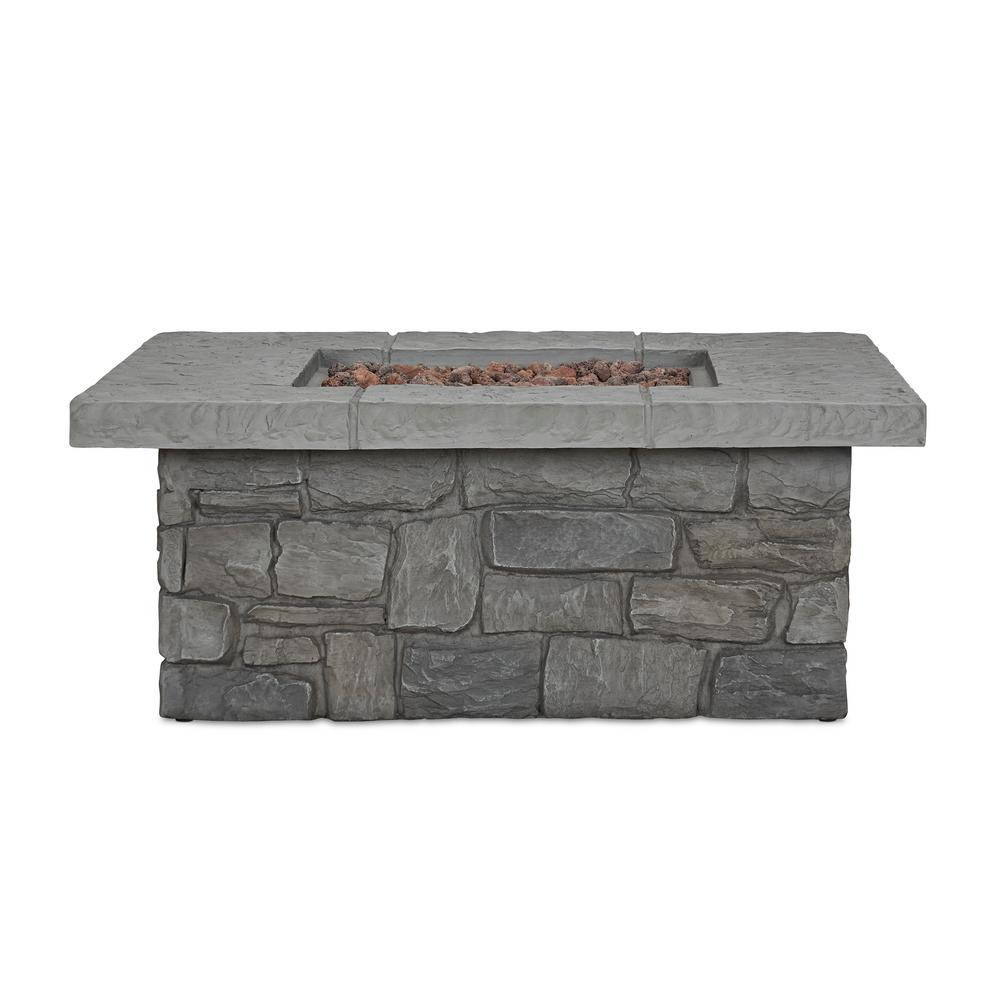 Real Flame Sedona 38 in. x 15 in. Square Cast Concrete Propane Fire Pit in Gray with Natural Gas Conversion Kit