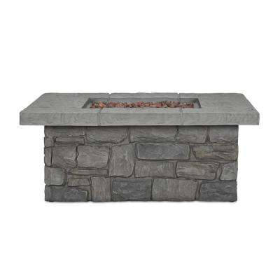 Sedona 38 in. x 15 in. Square Cast Concrete Propane Fire Pit in Gray with Natural Gas Conversion Kit