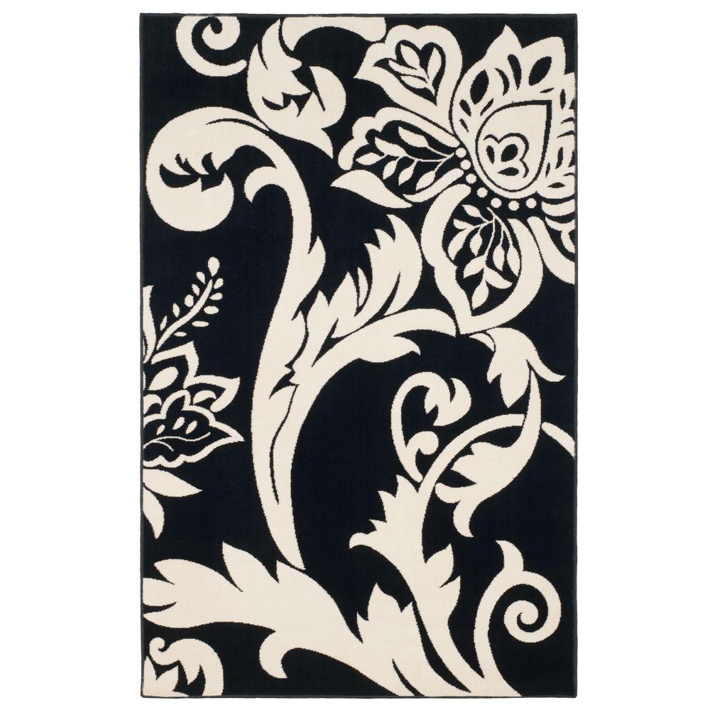 Floral Black 5 ft. x 7 ft. 7 in. Area Rug
