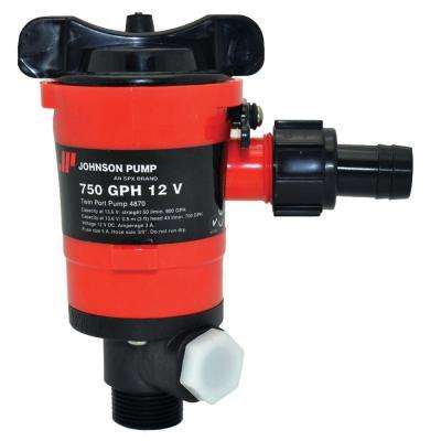 750 GPH Aerator/Livewell Pump, Twin Outlet Ports