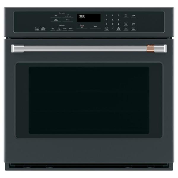 30 in. Smart Single Electric Wall Oven with Convection Steam-Cleaning in Matte Black, Fingerprint Resistant
