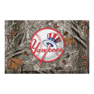 MLB - New York Yankees 19 in. x 30 in. Outdoor Camo Scraper Mat Door Mat