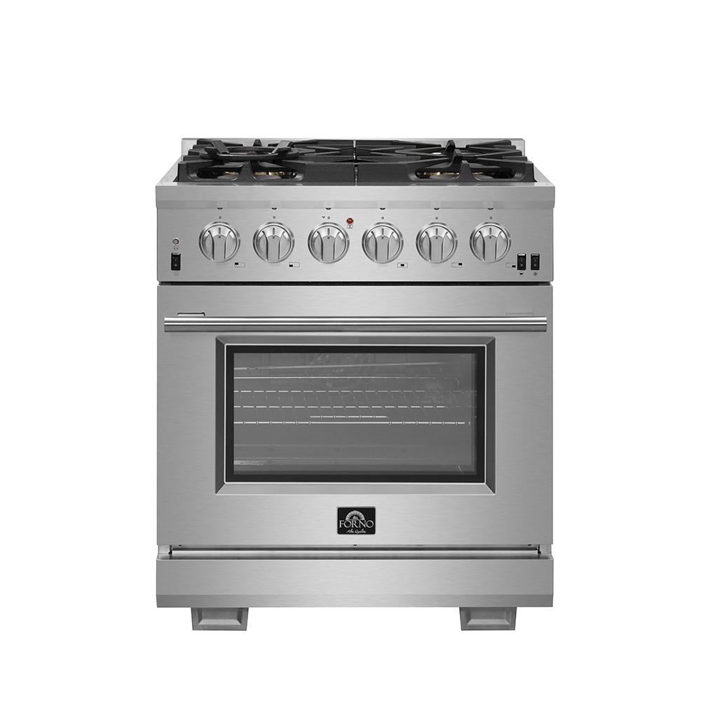 Forno Capriasca 30 In 4 32 Cu Ft Gas Range With 5 Gas Burners Oven In Stainless Steel Ffsgs6260 30 The Home Depot