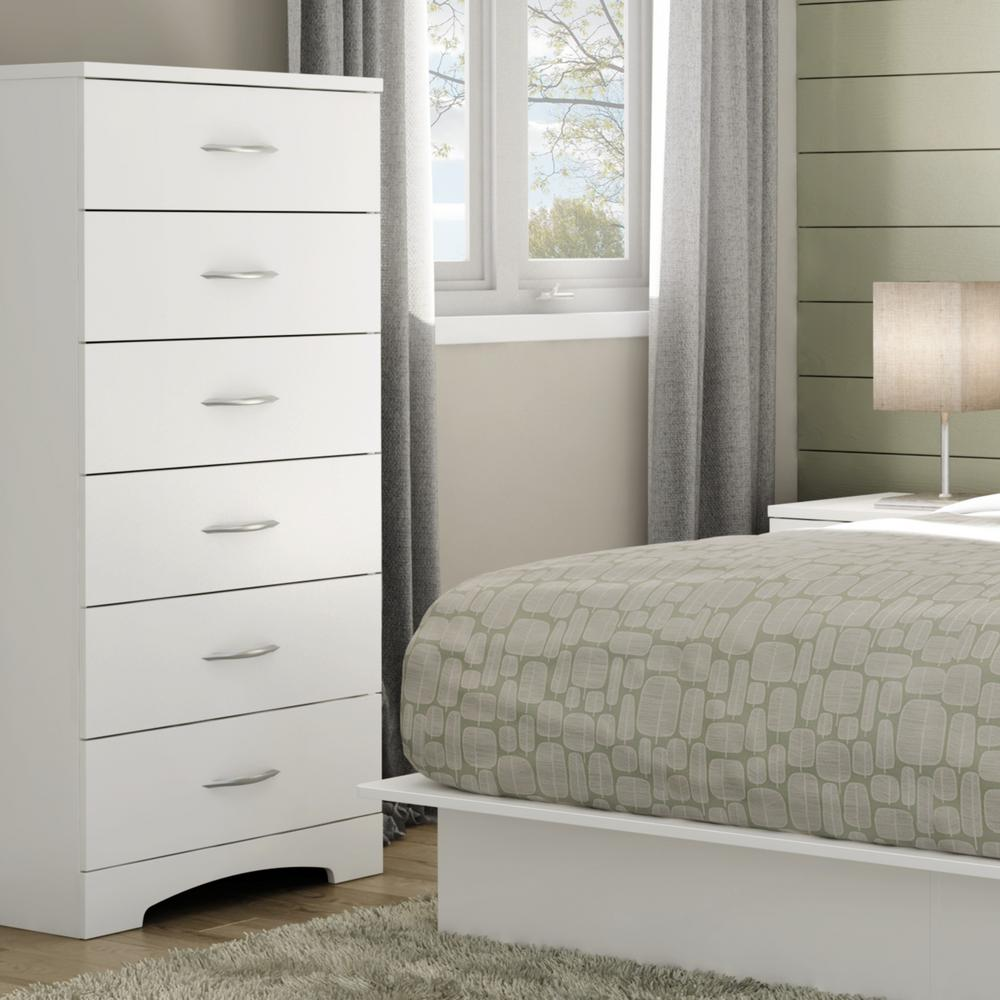 white bedroom dressers. Step One 6 Drawer Pure White Chest  Dressers Chests Bedroom Furniture The Home Depot