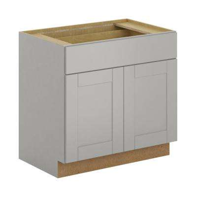 Princeton Shaker Assembled 36x34.5x24 in. Base Cabinet with Soft Close Drawer in Warm Gray