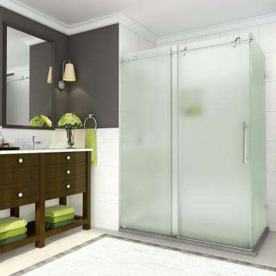 Coraline 44 in. to 48 in. x 33.875 in. x 76 in. Frameless Sliding Shower Enclosure with Frosted Glass in Stainless Steel