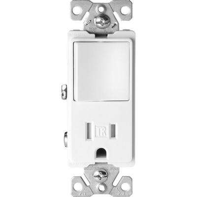 15 Amp Tamper Resistant Decorator Combination Single Pole Switch and Receptacle, White