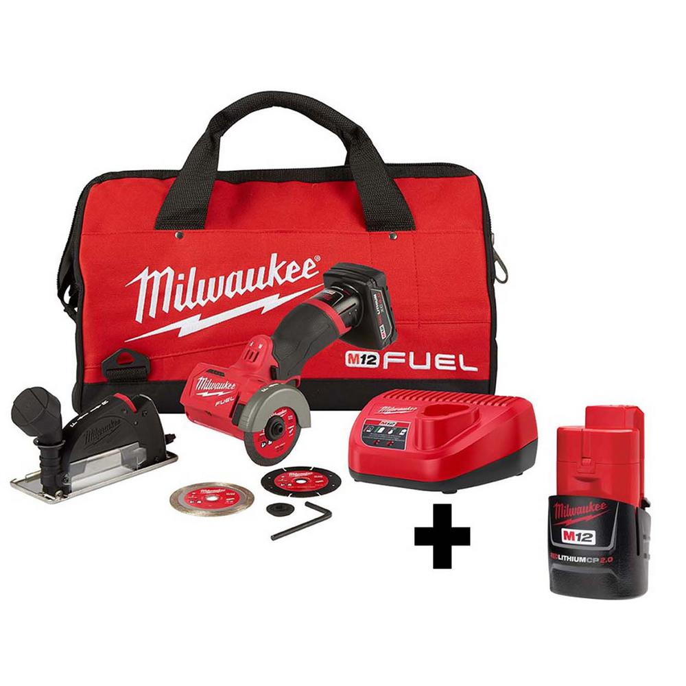 Milwaukee M12 FUEL 12-Volt 3 inch Lithium-Ion Brushless Cordless Cut Off Saw Kit w/ Free M12 2.0 Ah Battery