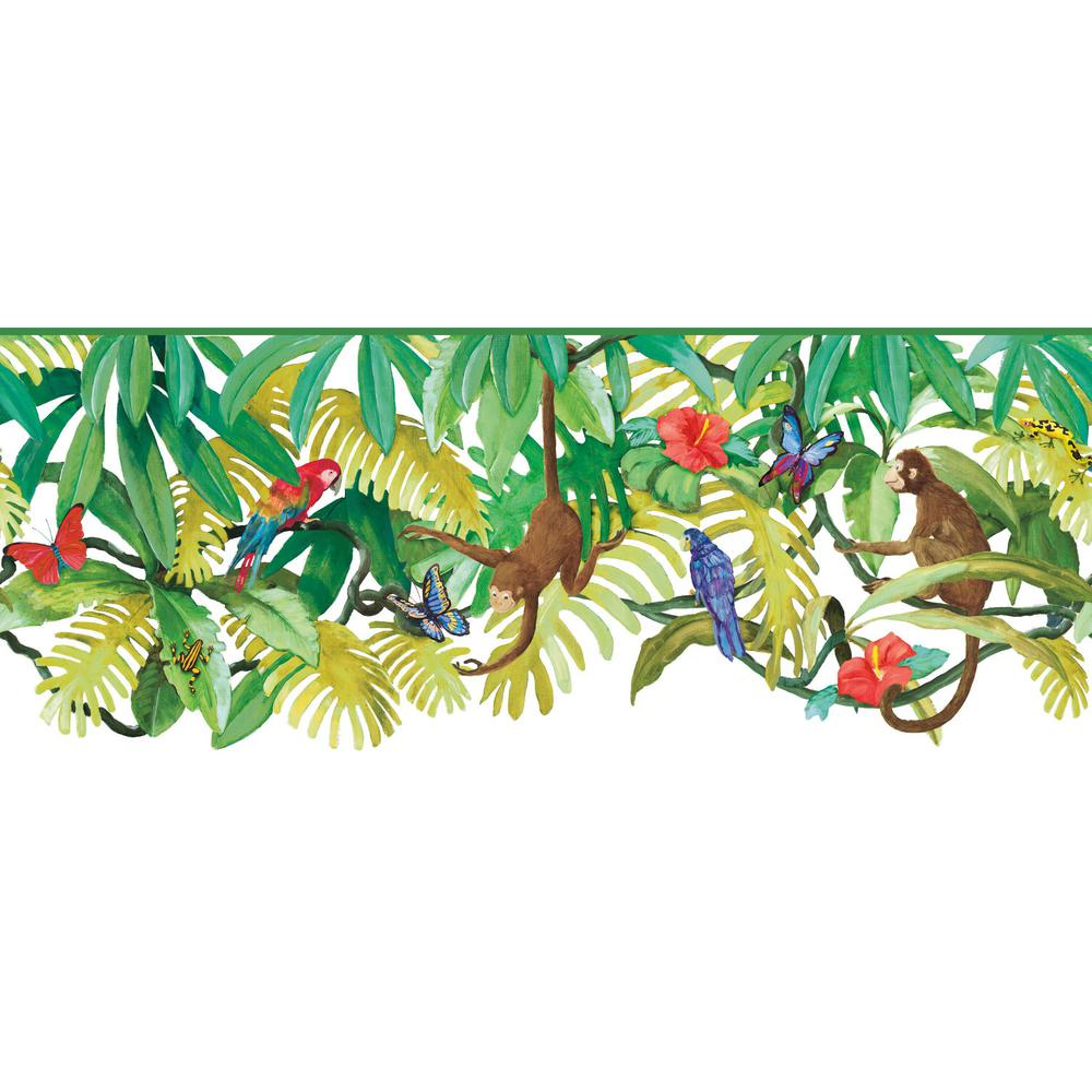 Brothers and Sisters V Up In The Treetops Border white, bright multicolor Wallpaper Border