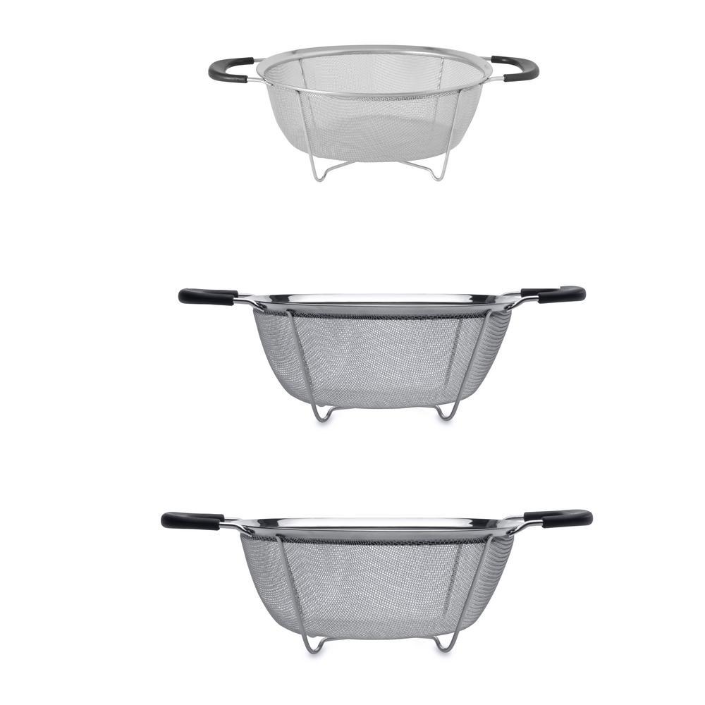 Essentials 3-Piece Stainless Steel Colander Set