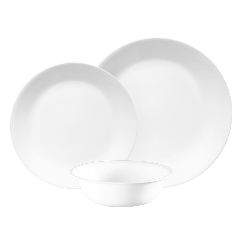 Classic 12-Piece Winter Frost White Dinnerware Set