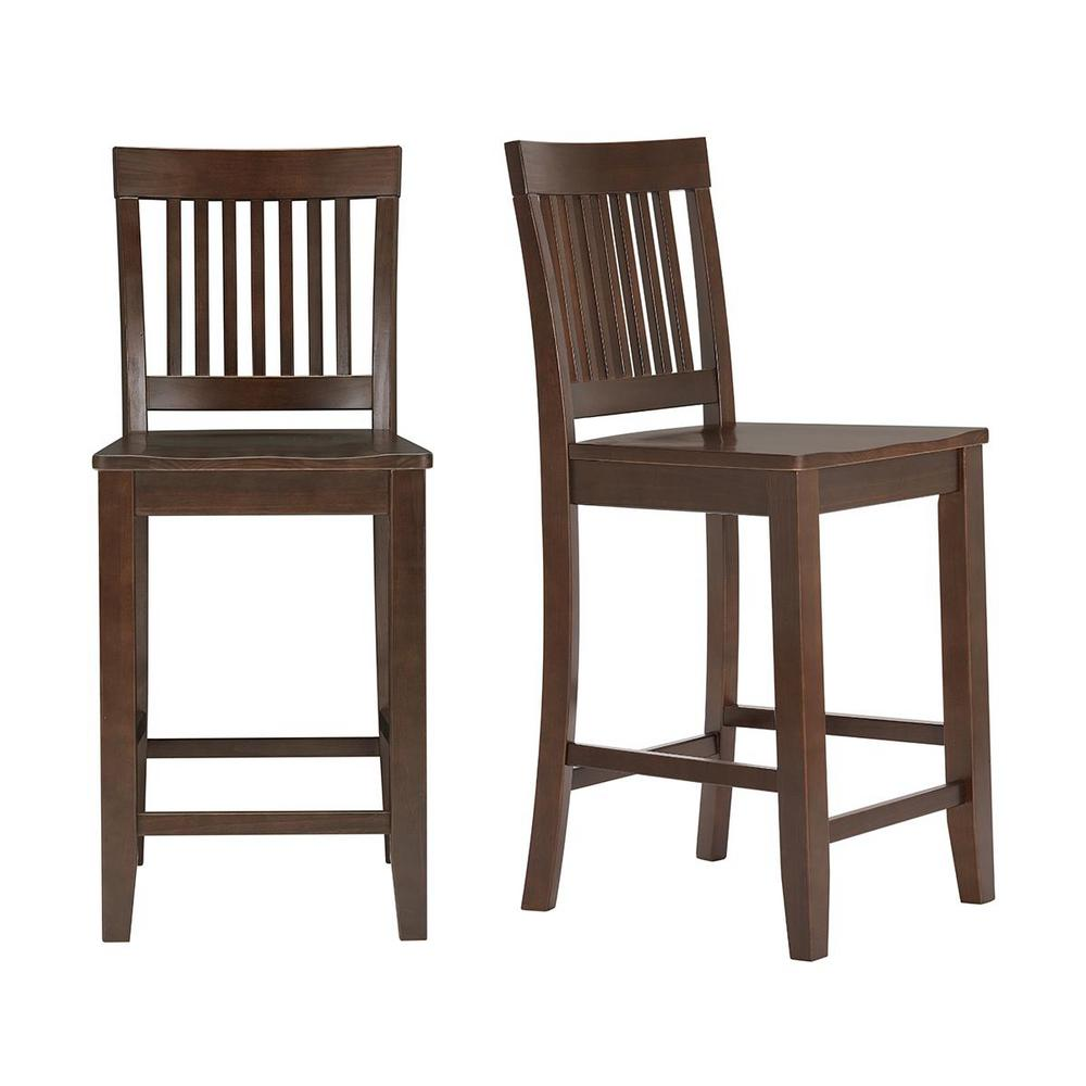 StyleWell Scottsbury Chocolate Wood Counter Stool with Slat Back (Set of 2) (19.14 in. W x 38.59 in. H), Dark Chocolate was $169.0 now $101.4 (40.0% off)