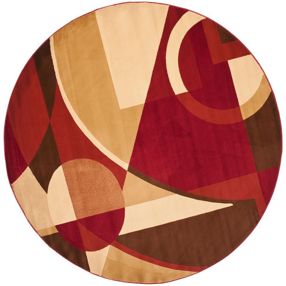 Safavieh Porcello Red Multi 7 Ft X Round Area Rug