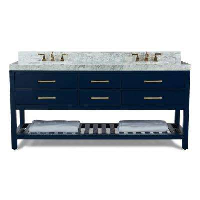 72 in. W x 22 in. D Bath Vanity in Heritage Blue w/ Marble Vanity Top in White w/ White Basin and Gold Hardware