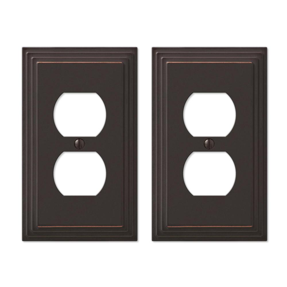 Hampton Bay Tiered 1 Gang Duplex Metal Wall Plate - Aged Bronze (2-Pack)