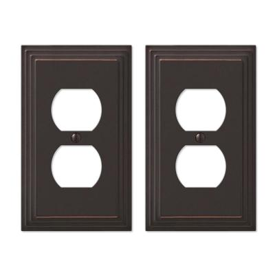 Tiered 1 Gang Duplex Metal Wall Plate - Aged Bronze (2-Pack)