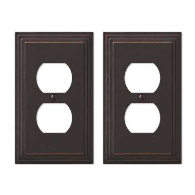 Tiered 1 Duplex Outlet Plate in Aged Bronze Cast (2-Pack)