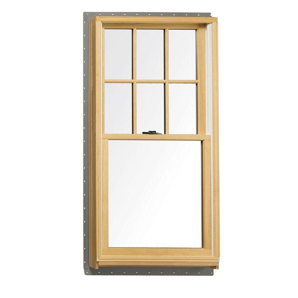 Andersen 37 625 In X 56 875 400 Series Tilt Wash Double Hung Wood Window With White Exterior
