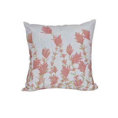 16 in. x 16 in. Coral Lavender Floral Print Pillow
