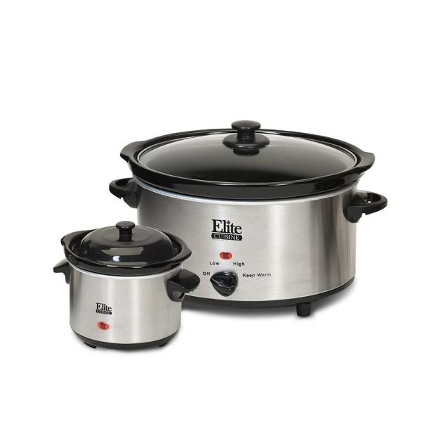 Elite 5 Qt. Stainless Steel Slow Cooker with Cool-Touch Handles MST-500D