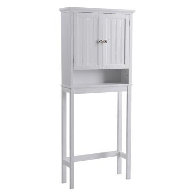 White Newport Collection Cabinet  23.6 in. W x 9 in D x 65 in. H Over the Toilet Cabinet with Doors