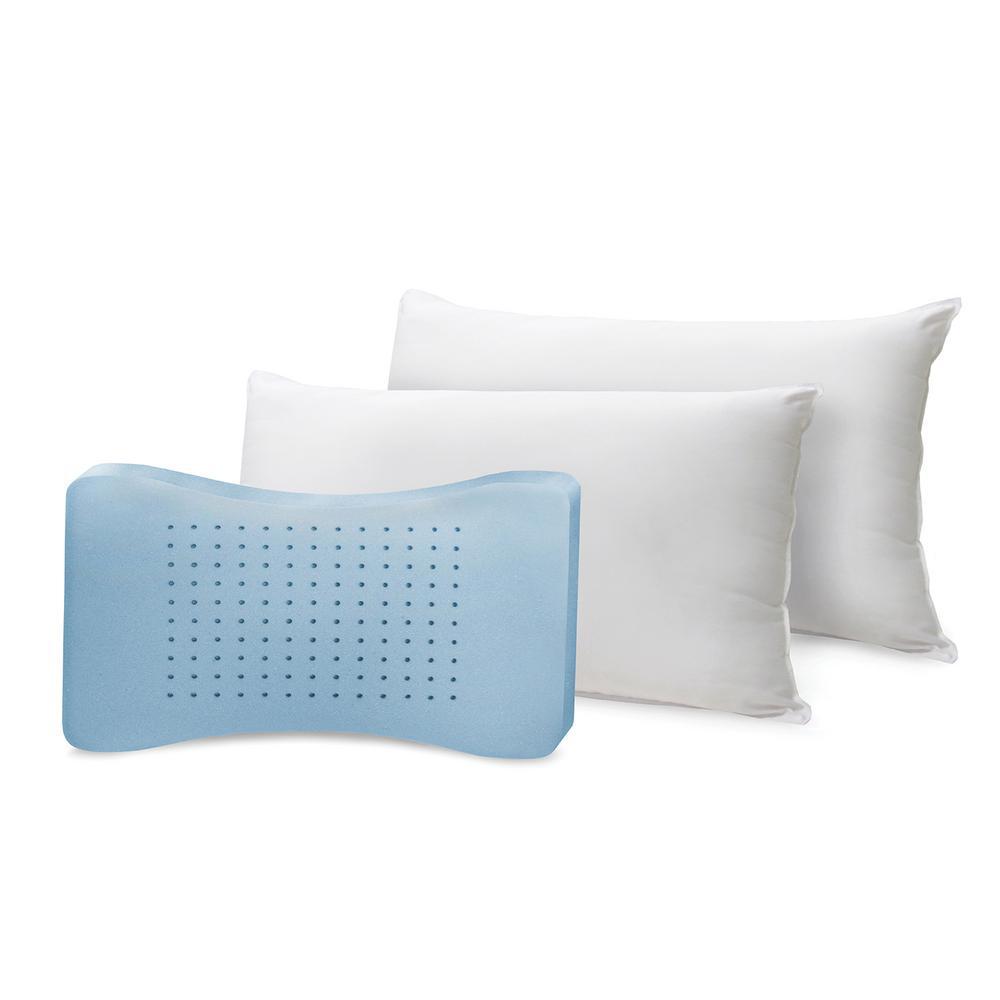 Memory Plus Classic Cotton King Memory Foam and Fiber Pillow (Set