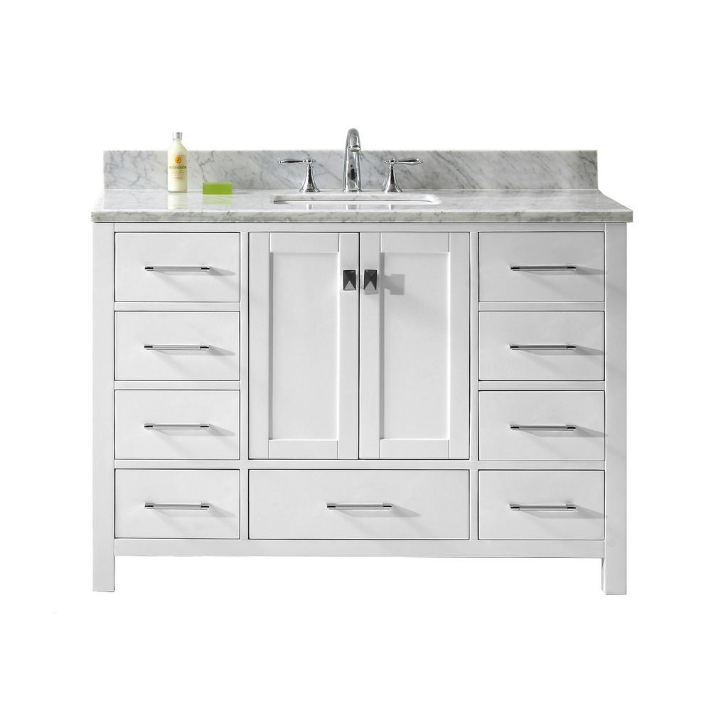 Virtu USA Caroline Avenue 49 in. W Bath Vanity in White with Marble Vanity Top in White with Square Basin