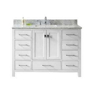 Virtu USA Caroline Avenue 48 inch W x 22 inch D Single Vanity in White with Marble Vanity Top in White with White Basin by Virtu USA