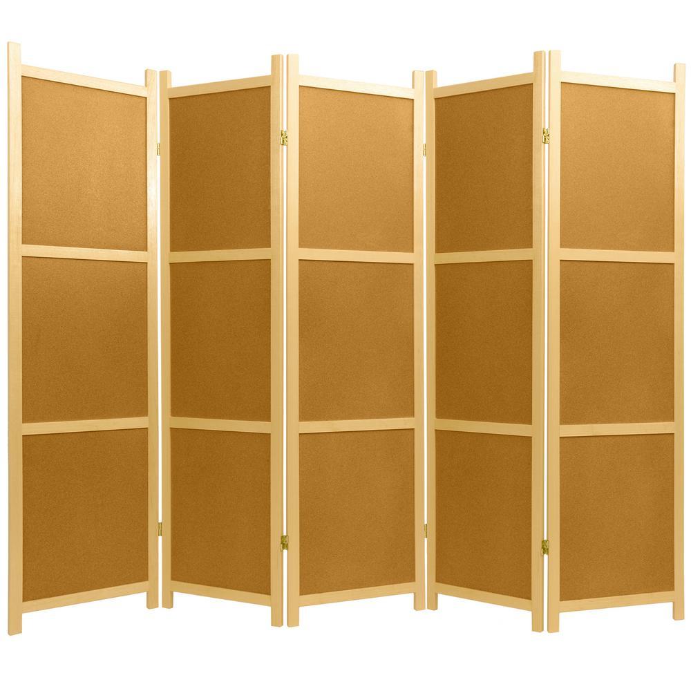 Oriental Furniture 6 Ft Natural 5 Panel Cork Board Room Divider Ss
