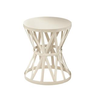 18.9 in. Round Metal Garden Stool in Chalk