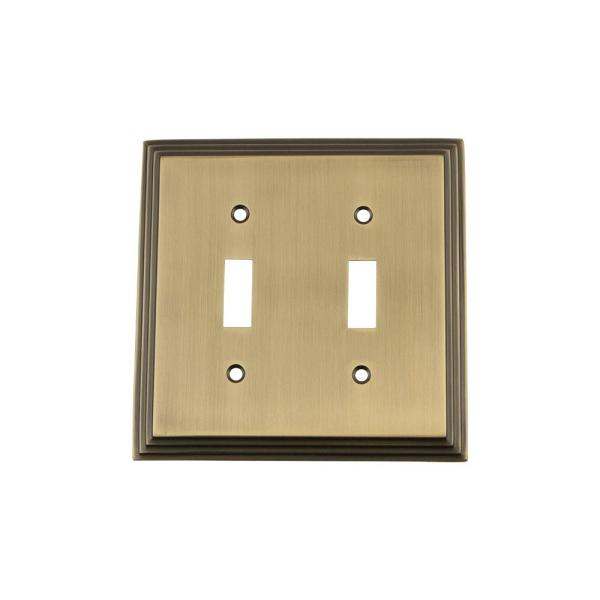 Nostalgic Warehouse Brass 2 Gang Toggle Wall Plate 1 Pack 719735 The Home Depot