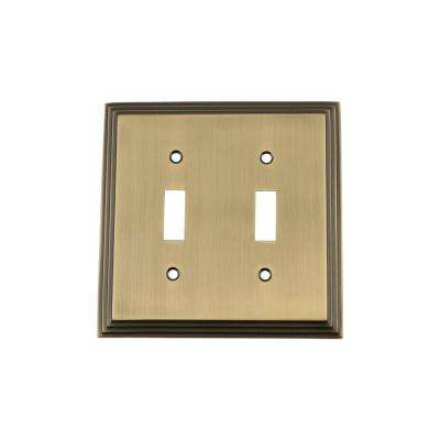 Deco Switch Plate with Double Toggle in Antique Brass