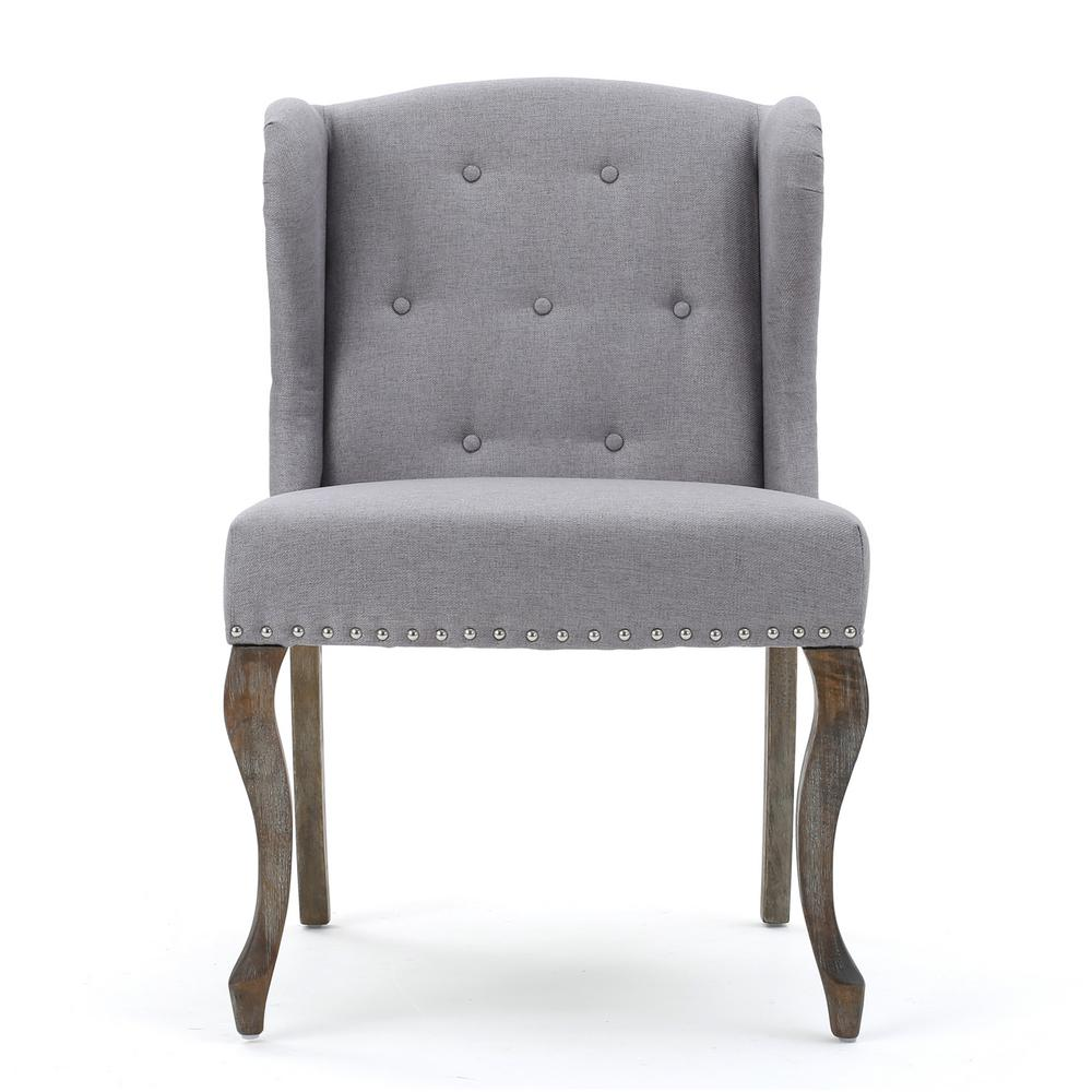 Niclas Button Back Light Gray Fabric Winged Chair with Stud Accents