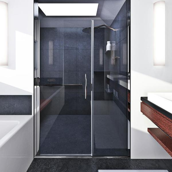 Coastal Shower Doors Illusion 52 In To 53 25 In X 75 In Semi Frameless Hinged Shower Door With C Pull Handle In Chrome And Clear Glass Hc52il 75b C The Home Depot