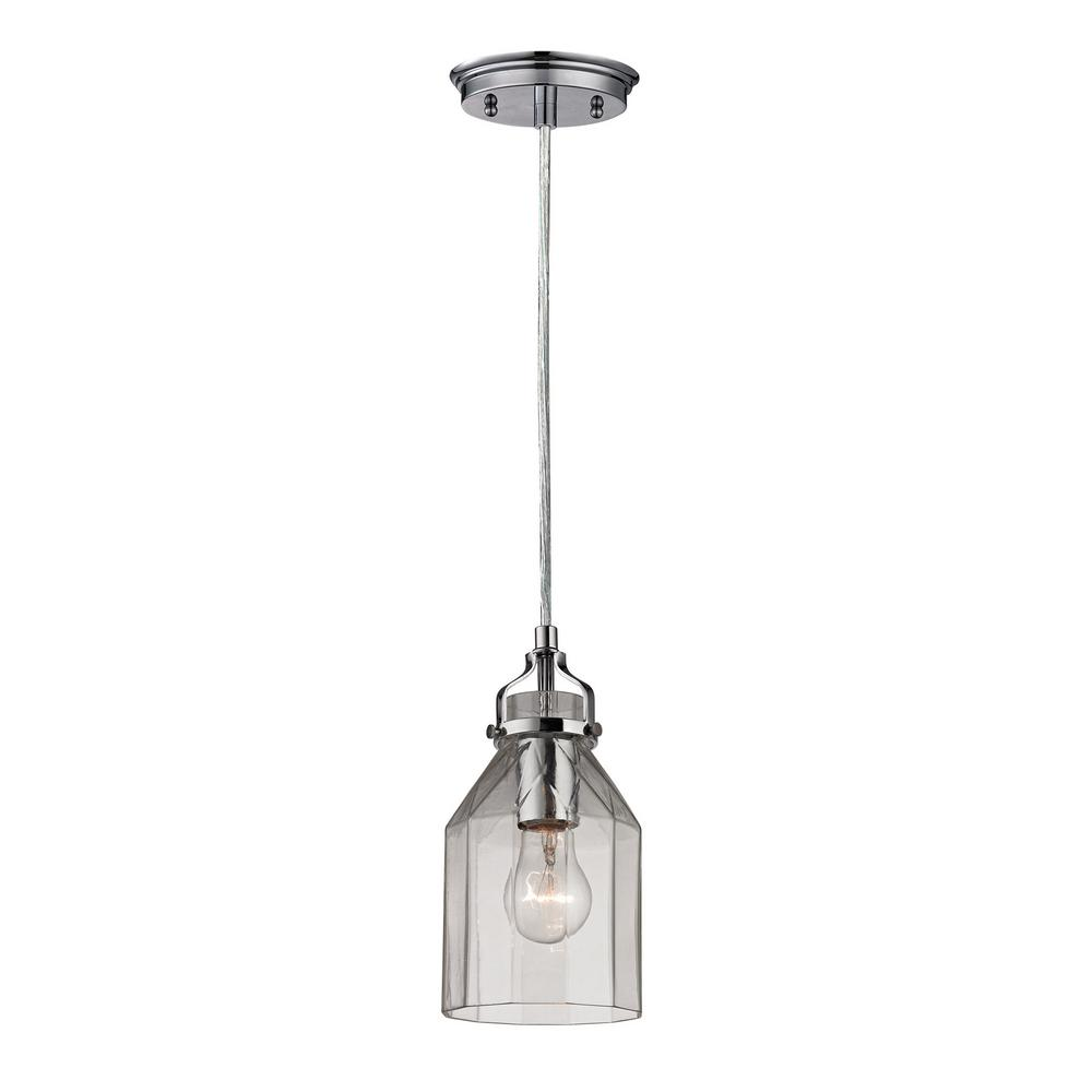 Danica 1-Light Polished Chrome and Clear Glass Pendant