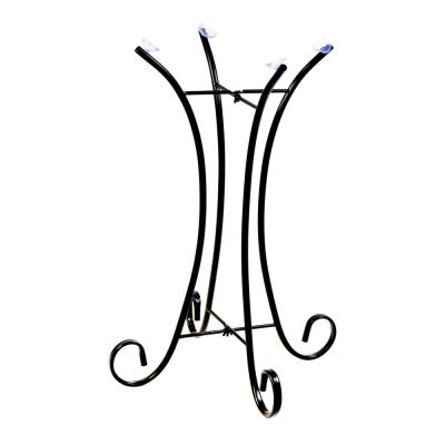 23 in. Tall Outdoor Metal Bird Bath Stand Decor Accessory, Black