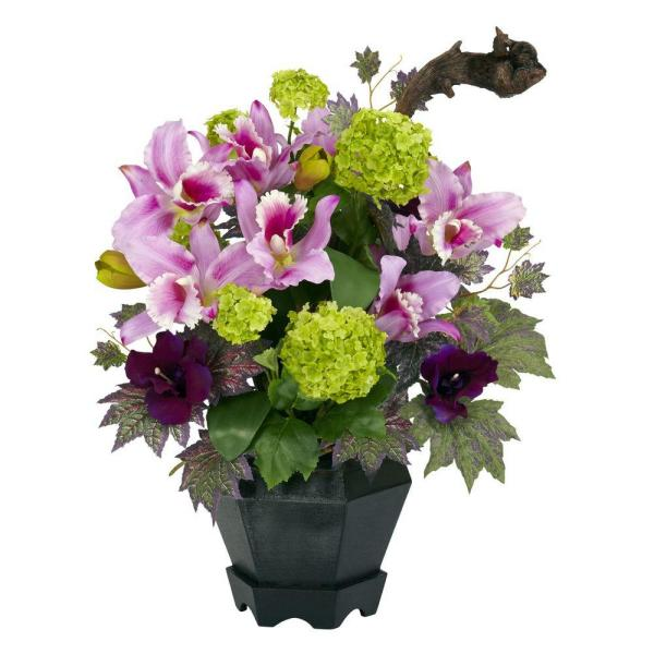 Nearly Natural 18 in. H Pink and Green Mixed Cattleya and