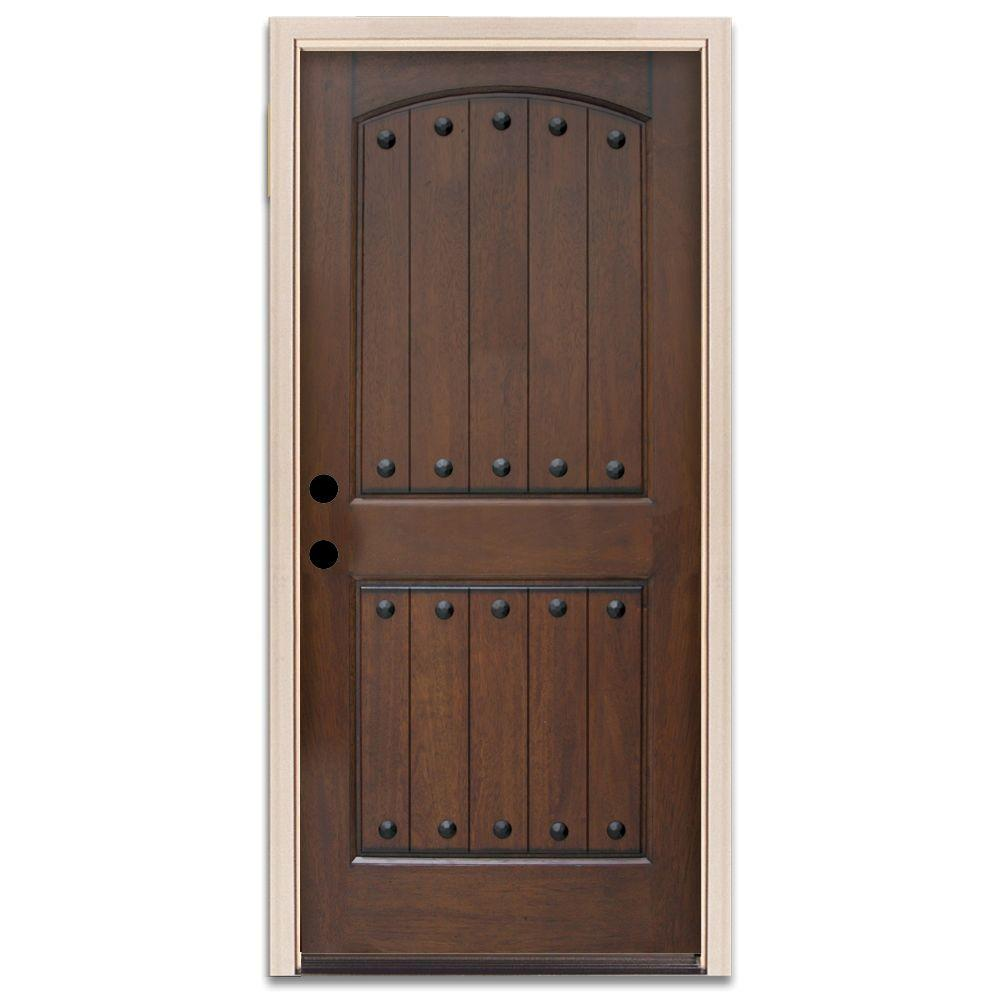 Steves & Sons Rustic 2-Panel Plank Prefinished Mahogany Wood Prehung Front Door-DISCONTINUED