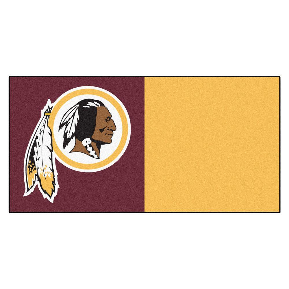 FANMATS NFL - Washington Redskins Maroon and Gold Nylon 18 in. x 18 in. Carpet Tile (20 Tiles/Case)