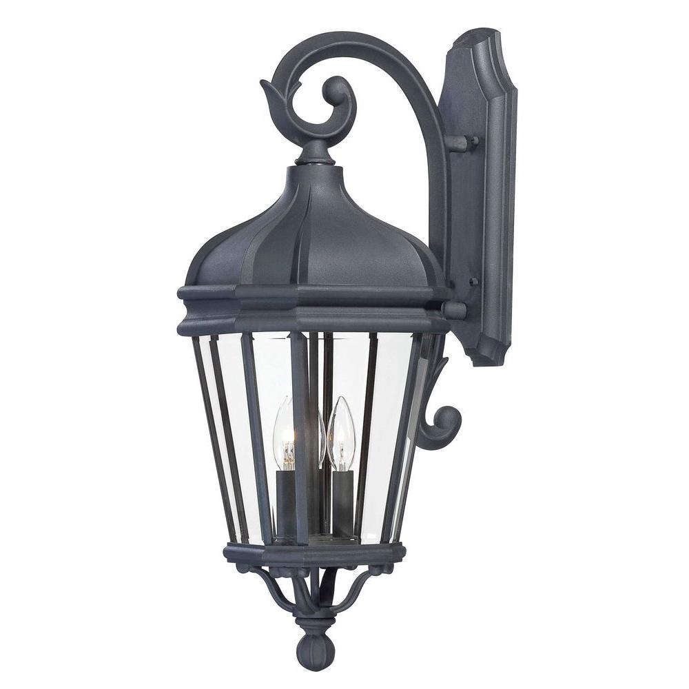 Harrison 3-Light Black Outdoor Wall Mount Lantern