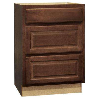 Hampton Assembled 24x34.5x24 in. Drawer Base Kitchen Cabinet with Ball-Bearing Drawer Glides in Cognac