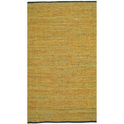 Gold Leather 30 in. x 50 in. Accent Rug