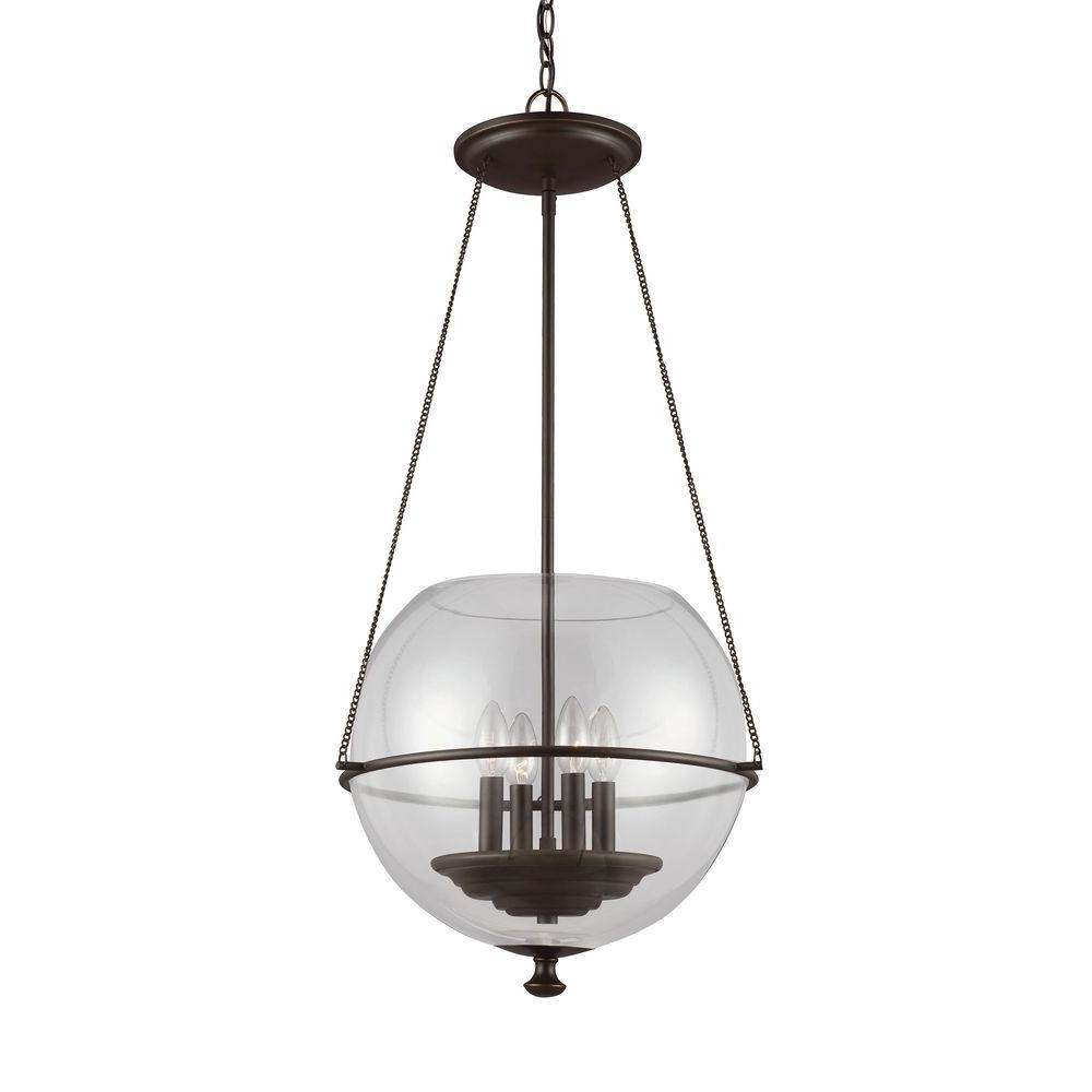 Sea Gull Lighting Havenwood 17.5 in W x 34.25 in. H 4-Light Autumn Bronze Mid-Century Modern Medium Globe Indoor Pendant