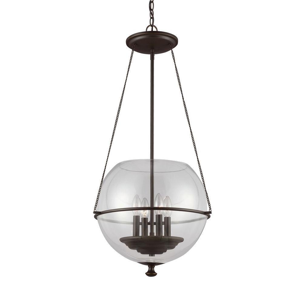 Havenwood 17.5 in W x 34.25 in. H 4-Light Autumn Bronze Mid-Century Modern Medium Globe Indoor Pendant
