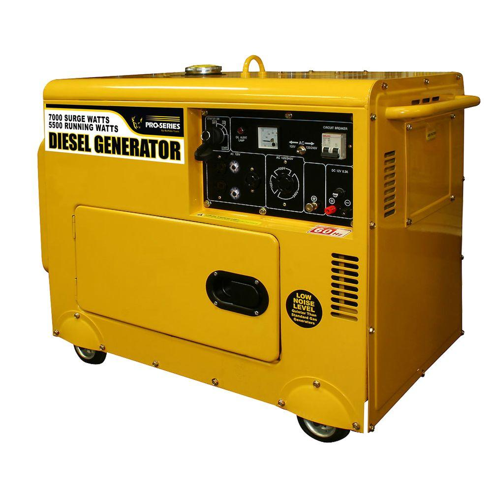 PRO-SERIES 5,500/7,000-Watt Quiet Diesel Powered Contractor Generator