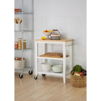 White Kitchen Cart with Towel Rack