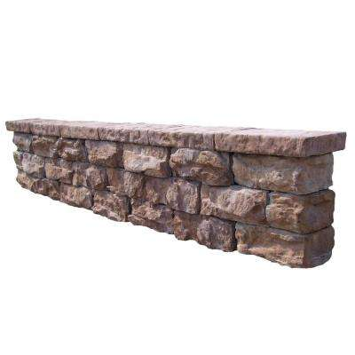64 in. Fossill Brown Outdoor Decorative Seat Wall