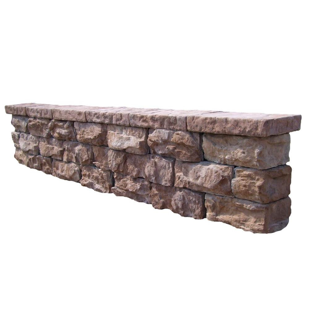 Natural Concrete Products Co 112 in. Fossill Brown Outdoor Decorative Concrete Seat Wall