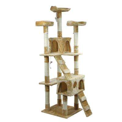 67 in. Biege Multi-level Cat Tree House with Scratching Post